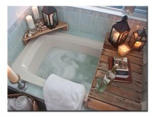 Полки-подставки из поддона в ванную